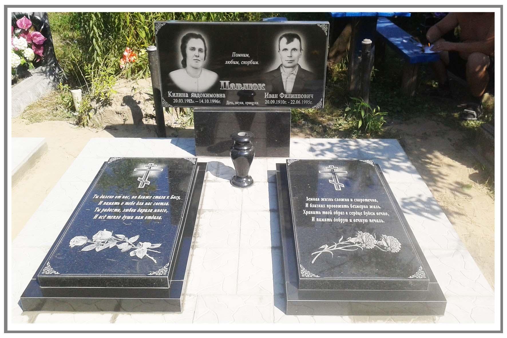 Надгробие для двоих Лампадка из покостовского гранита Проспект Вернадского
